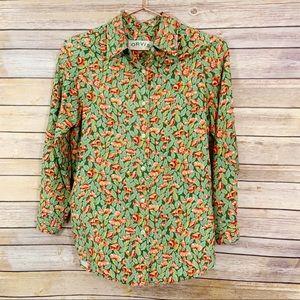 Orvis Silk Red Green Poppy Print Buttondown Top